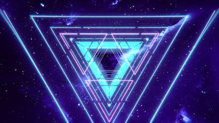 Abstract neon geometric background. Retro futuristic ultraviolet backdrop with bright glowing triangles in a tunnel with pink and blue. VJ 3D illustration for EDM music video, club, concert Reklamní fotografie