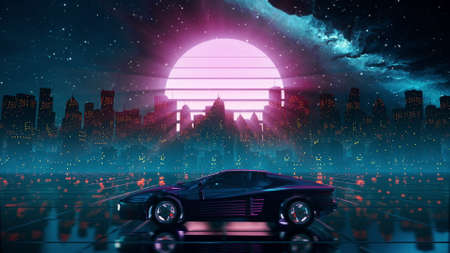 80s retro futuristic drive background with vintage car. Stylized sci-fi city landscape in outrun VJ style, night sky. Vaporwave 60 fps 3D illustration for EDM music video, DJ set, club. 4k