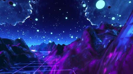 Futuristic flight through trippy landscape background. High quality 3D illustration with mountains, grid, balls for EDM music video, live show, VJ. Psychedelic flythrough in 4k