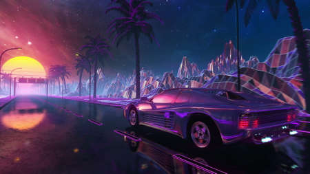 80s retro futuristic drive with vintage car. Stylized sci-fi landscape race in outrun VJ style, night sky. Vaporwave 3D illustration background for EDM music video, DJ set, club. 4k