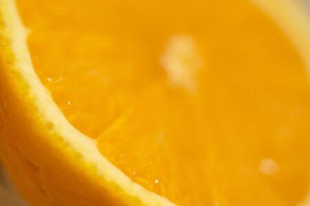 bisected: Closeup macro photo of Spanish Valencian orange cut in half. Stock Photo