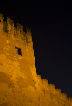 battlements: Medieval castle battlements at night agains sky in Spain