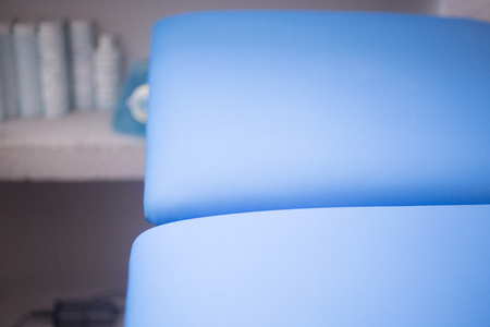 physiotherapists: A bed in a physiotherapists treatment area in hospital clinic. Stock Photo