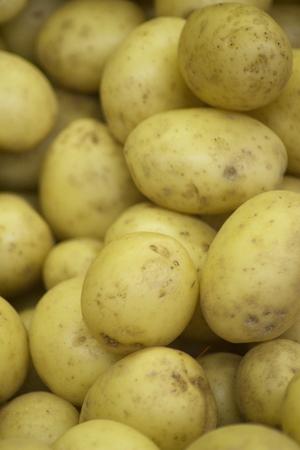 grocers: Potatoes vegetables on sale in supermarket grocers shop on display.