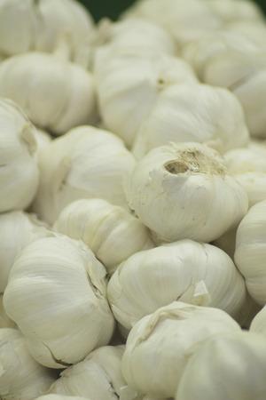 grocers: Garlic clove vegetables on sale in supermarket grocers shop on display.