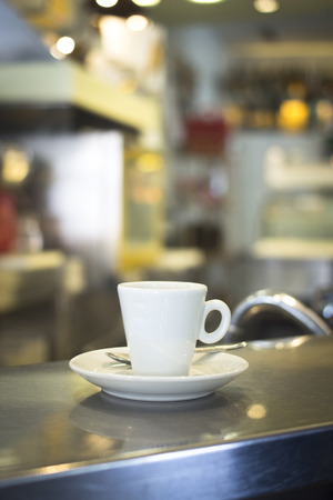 caffeine free: Italian coffee expresso cup spoon and saucer in restaurant cafe bar in Rome Italy.