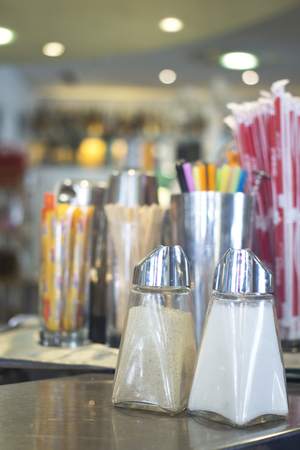 peppar: Salt and pepper shakers in restaurant cafe bar in Rome Italy.
