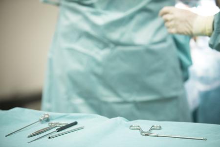 Traumatology orthopedic surgery hospital emergency operating room instrument nurse  instrumentation instruments prepared for arthroscopy operation photo.