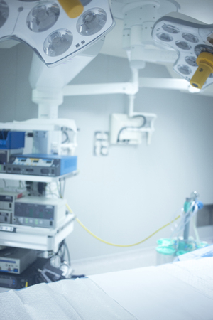 endoscope: Traumatology orthopedic surgery hospital emergency operating room prepared for arthroscopy operation photo.