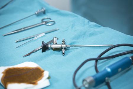 traumatology: Traumatology orthopedic surgery hospital emergency operating room prepared for arthroscopy operation camera on table with equipment