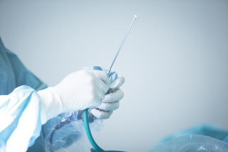 Traumatology orthopedic surgery hospital emergency operating room prepared for arthroscopy operation photo.