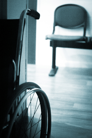 wheel chair: Wheel chair in hospital clinic medical center waiting room.