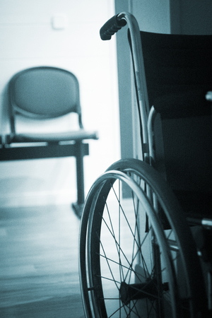 medical center: Wheel chair in hospital clinic medical center waiting room.