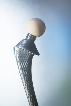 orthopedic: Traumatology and orthopedic surgery prosthetic titanium hip implant.