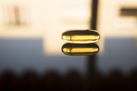 Levertraan visolie omega 3, 6 en 9 capsule gezondheid voedingssupplement.