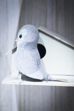 pidgeon: Toy bird dove pidgeon nest house photo. Stock Photo