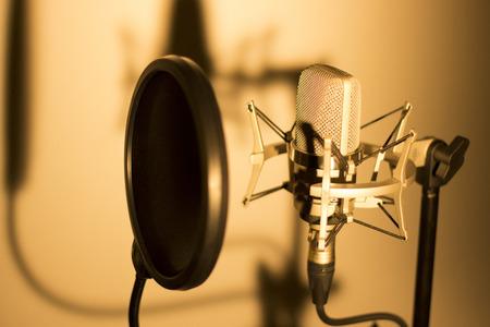 Audio opnemen vocale stem studio microfoon met anti-shock mount en ingebouwde anti-pop filter voor zang en voice-acteurs doen van voice-overs. Stockfoto - 49718969