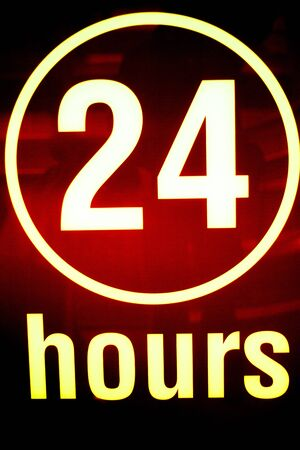 24 hours: Twenty four 24 hours open sign light in store.