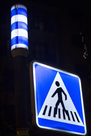 pedestrian crossing: Pedestrian crossing traffic light sign photo. Stock Photo