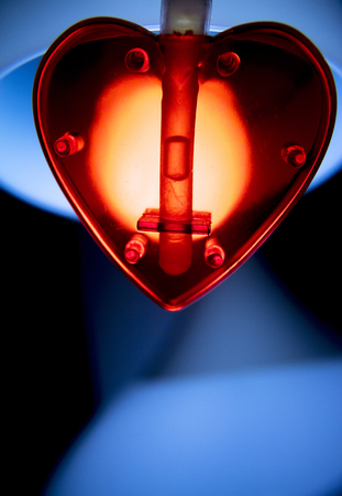 color photo: Valentines Day red love heart shape artistic color photo. Stock Photo