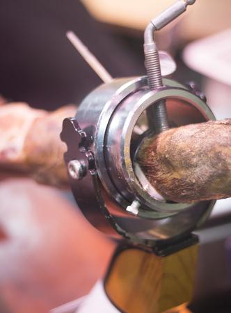 cured ham: Spanish Iberian cured ham leg cut photo. Stock Photo