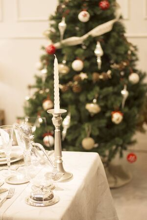 glasswear: Christmas party festive dinner table photo. Stock Photo