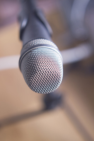 home audio: Home studio audio recording vocal studio microphone on stand to record singing or speaking voice.
