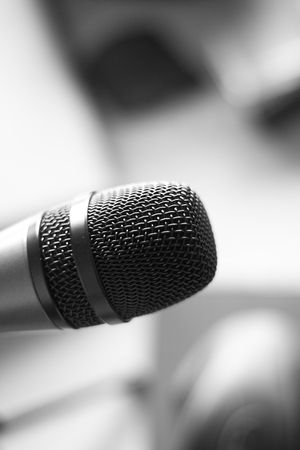 Audio recording vocal studio professional microphone to record singing or voice-overs. Stock Photo