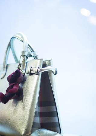 luxury goods: Shop window luxury fashion clothes store designer leather handbag photograph.