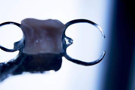 false teeth: Removable partial denture metal and plastic dental false teeth prosthetic silhouette photo.