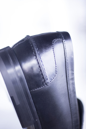 hand made: Mens black leather luxury hand made formal shoes photo Stock Photo