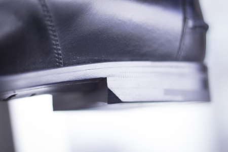 hand made: Mens black leather luxury hand made formal shoes heel photo. Stock Photo
