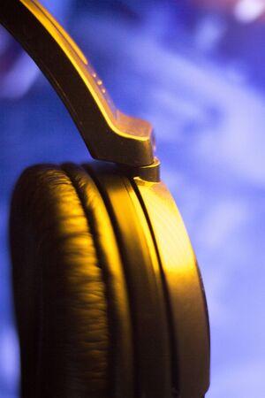 deejay: Professional dj studio deejay closed headphones color photo. Stock Photo