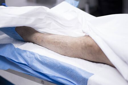 operating room: Hospital surgery emergency operating room bed photo.