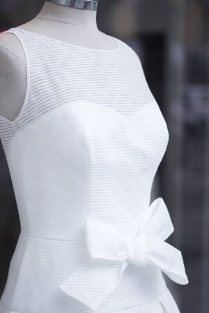 bridal gown: Wedding white dress bridal gown in store window on clothes mannequin.