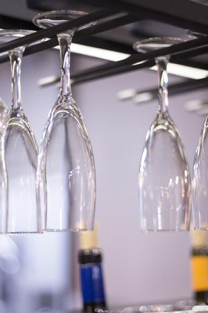 upturned: Upturned wine glasses in restaurant bar nightclub in festive party.