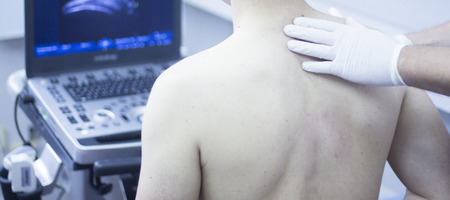 health technology: Ultrasound assisted ecography intratissue percutaneous electrolysis shoulder diagnosis in physical therapy physiotherapist treatment in medical center IPE physiotherapy clinic.