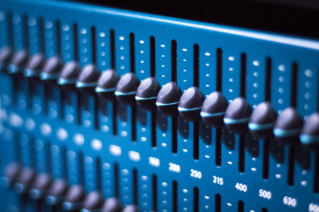 graphic equalizer: Professional sound recording audio studio digital equipment, amplifier, knobs and graphic equalizer analog controls. Stock Photo