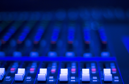 equaliser: Professional sound recording audio studio digital equipment, amplifier, knobs and graphic equalizer controls. Stock Photo