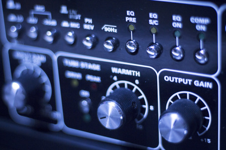 graphic equalizer: Professional sound recording audio studio digital equipment, amplifier, knobs and graphic equalizer controls. Stock Photo