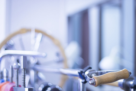therapy equipment: Physical therapy equipment in physiotherapy clinic specialized in sports injury rehabilitation for wrists, hands and fingers. Stock Photo
