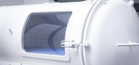 medical center: HBOT hyperbaric oxygen therapy chamber tank in hopsital medical center clinic.