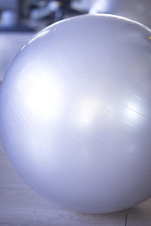 pilates ball: Gym exercise pilates ball in fitness studio.