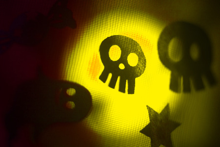 ghostly: Halloween ghost skull head childrens party trick or treat surreal, ghostly scary photo of frightening ghosts and monsters at night. Stock Photo