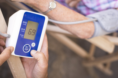 resting heart rate: Cardiac blood pressure and irregular heart beat pulse rate meter to show resting heart rate in monitored old aged female patient.