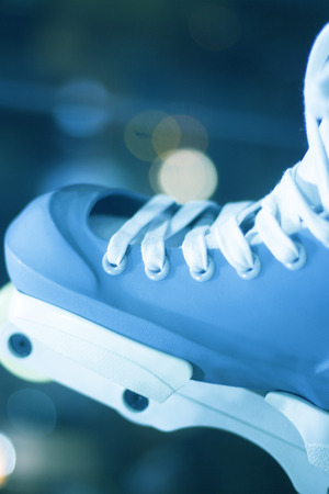 Aggressive inline free skates inline rollerskates for skating, jumps, tricks and urban skating Stock Photo