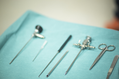 Instrumentation: Surgery instrumentation in emergency room operating theater operation with instruments for the surgeon and knee procedure.
