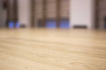 Yoga dance and pilates studio in gym health club with polished real hard wood wooden sprung floor. Stock Photo