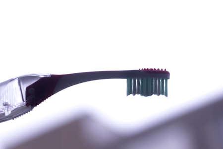 Manual modern tooth brush closeup on plain background. Archivio Fotografico