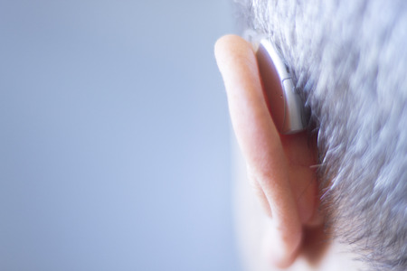 Modern digital in the ear hearing aid for deafness and the hard of hearing patients.